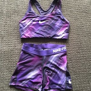 Nike pro sports bra and shorts